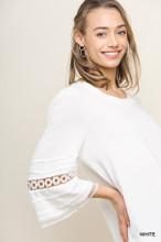 Women's Umgee Top, Crocheted Bell Sleeve, Scoop Neck