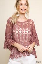 Women's Umgee Top, Crochet Scoop Neck