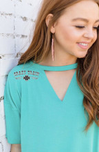 Women's Crazy Train Shirt, Turquoise Textline V-Neck