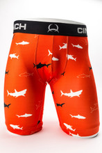 "Men's Cinch Briefs, 9"" Shark Print, Orange"