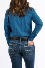 Women's Cinch L/S, Dark Blue with Light Blue Print