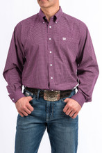 Men's Cinch L/S, Purple with White Print
