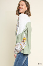 Women's Umgee Top, Colorblock with Floral Puff Sleeve