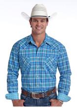 Men's Panhandle L/S, Light Blue Plaid, Pearl Snap