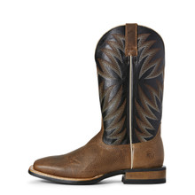 Men's Relentless Boot, Brown Vamp with Black Shaft, White and Brown Stitching
