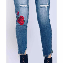Women's KanCan Jeans, Barlett Betty, Skinny with Rose Embroidery
