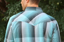 Men's Rock 47 L/S, Turquoise and Black Plaid