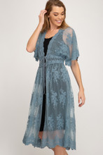 Women's She+Sky Kimono, Half Sleeve, Lace, Waist Tie