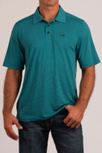 Men's Cinch S/S, Arena Flex, Turquoise with Stripes