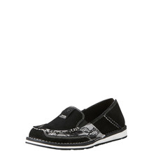 Women's Ariat Cruiser, Black Suede with Black and White Lace
