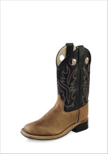 Kids Old West Boot, Black Shaft with Brown Vamp