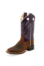Youth Old West Boot, Dark Purple Shaft with Brown Vamp