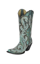 Women's Corral Boot, Turquoise Shaded Embroidery, Pointed Toe, Studded
