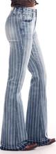Women's Rock & Roll Jeans, Trouser/Bell Bottom, High Rise, Denim Striped