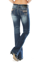 Women's Charme Jeans, Dark Wash Boot Cut, Embellished Pocket