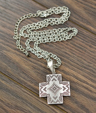 Isac Trading Necklace, Silver Aztec Cross, Silver Chain