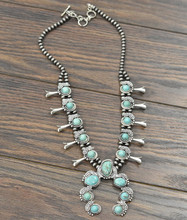 Isac Trading Necklace, Full Turquoise Squash, 6MM Navajo Pearls