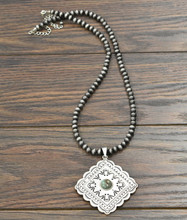Isac Trading Necklace, Silver Concho with Turquoise Stone, 8MM Navajo Pearls