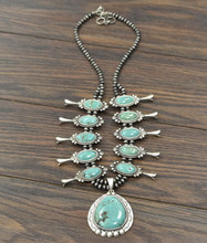 "Isac Trading Necklace, Full Turquoise Squash, 30"" with  6MM Navajo Pearl"
