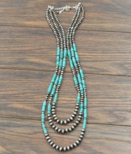 Isac Trading Necklace, 3 Strand Turquoise and Navajo Pearls
