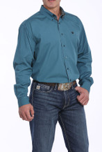 Men's Cinch L/S, Solid Teal, Printed Cuffs