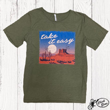 Women's Ranch Swag Tee, Olive, Take It Easy, Round