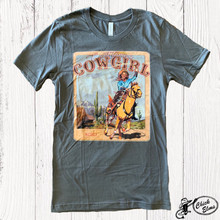 Women's XOXO Tee, Vintage, Can't Tame a Cowgirl, Asphalt