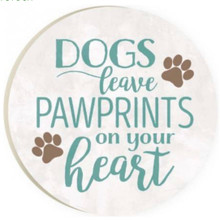 PGD Car Coaster Singles, Dogs Leave Paw Prints on the Heart
