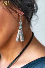 L&B Earrings, Silver TeePee with Turquoise Stone