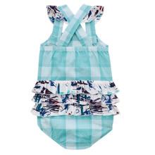 Baby Girls Wrangler Romper, Light Blue Plaid with Southwest Print Ruffle
