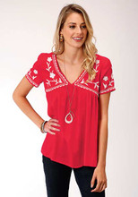 Women's Roper Top, Red with White Embroidery