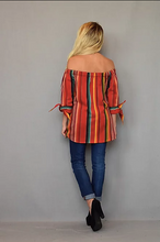 Women's Silverado Top, Bardot, Off Shoulder, Red Serape