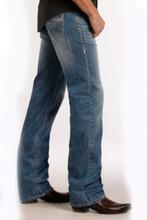 """Men's Rock & Roll Jeans, Relaxed, Straight Leg, Medium Wash, Tan """"V"""" Pocket"""