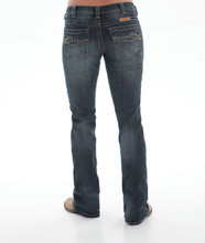 Women's Cowgirl Tuff Jean, Gold/Blue Stitch Pocket