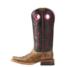 Women's Ariat Boot, Cracked Brown Vamp, Black Top with Pink Inlay