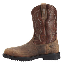 Men's Ariat Boot, Comp Toe, Brown Square with Maroon Shaft