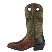 Men's Ariat Boot, Brown Vamp, Green Shaft, Wild Ride