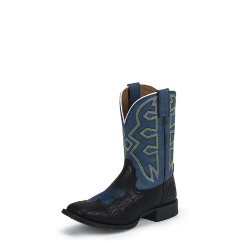 Kids Nocona Boot, Black Croc, Blue Top