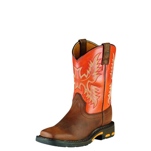 Kids Ariat Boot, Dark Brown Vamp, Orange Shaft, Square Toe