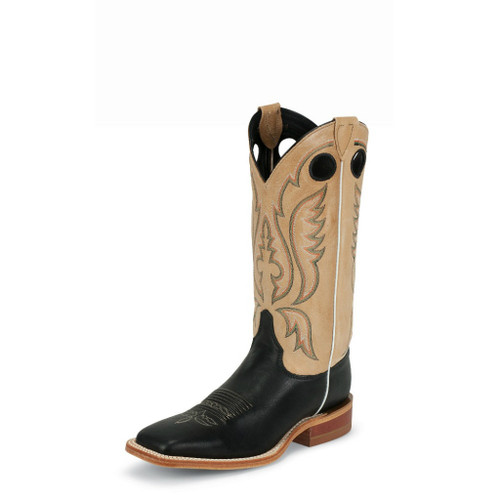 Men's Justin Boot, Black, Square Toe, Tan Shaft, Bent Rail