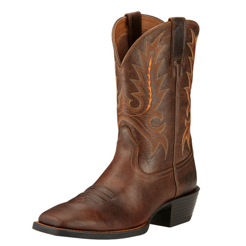 Men's Ariat Boot, Brown w/ Orange Stitch