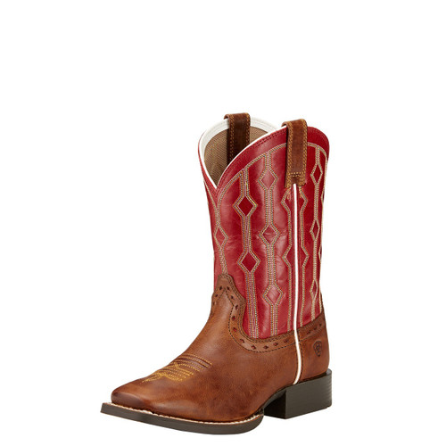 Kids Ariat Boot, Dark Brown Vamp, Red Shaft, Square Toe