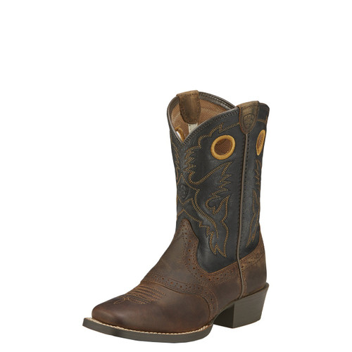Kids Ariat Boot, Brown, Square Toe, Black Top