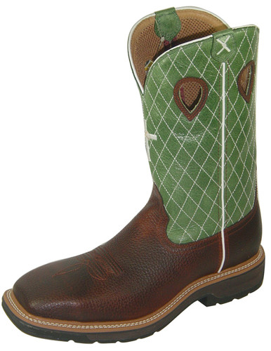 Men's Twisted X Steel Toe Boot, Lime Green with Cross/ Cognac Pull On, Wide Square Toe