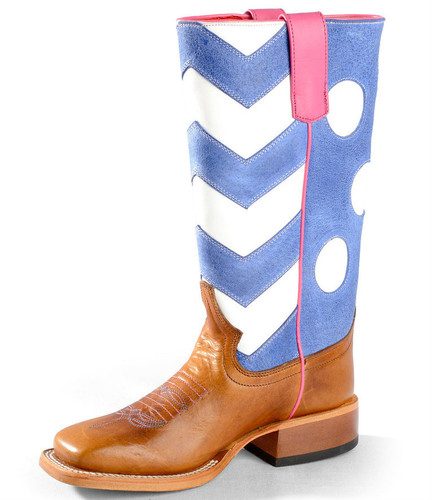 Girls Macie Bean Boots, Violet & White Polka Dots, Chevron