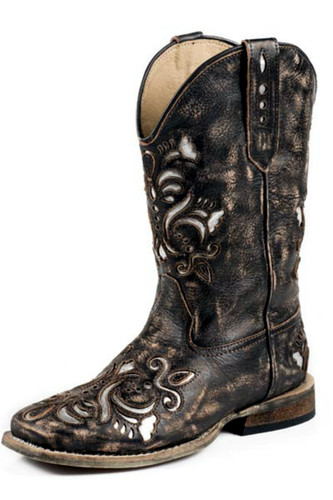 Kids Roper Boots, Distressed Brown, Floral Scrolling, Metallic Underlay