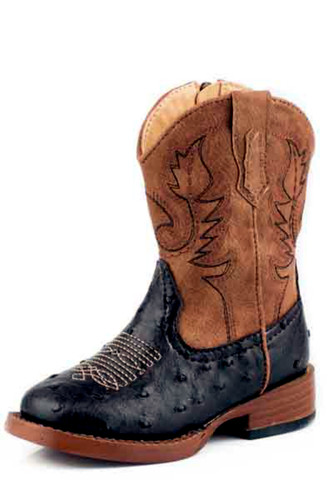 Kids Roper Boots, Brown/Tan, Ostrich Print