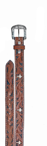 Kids WFA Ranger Belt With Cross Tooling, Brown, White, and Black , Cross Inlay