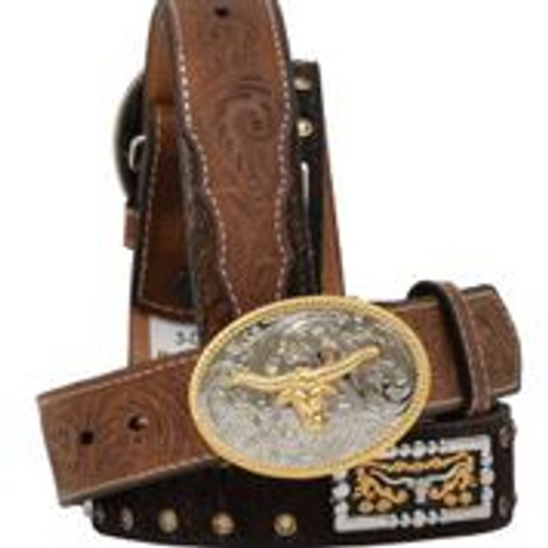 Kids 3D Belt with Gold Longhorn Concho