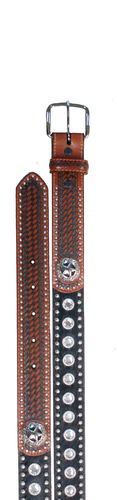Kids WFA Ranger Belt, Brown with Cyrstal Studs and Star Concho